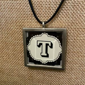 Reversible Initial Necklace onBlack Leather Cord